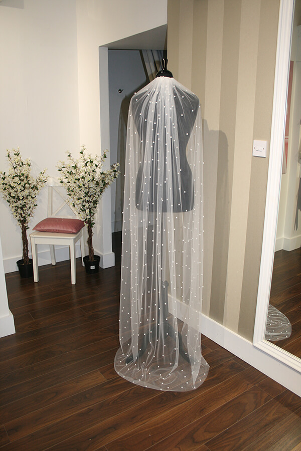 Pearl Fall Save the Date Veil